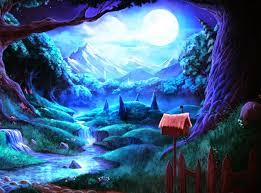 halloween pink background fantasy village creative nature scenary at night moon moon