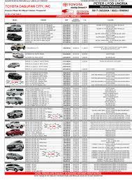 toyota vehicles price list toyota pricelist june 2017 toyota dagupan city inc toyota