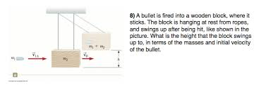 hanging picture height solved a bullet is fired into a wooden block where it st