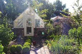 of english vegetable garden with a vintage greenhouse 1