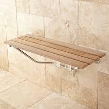 bathroom enchanting floating teak shower bench with travertine