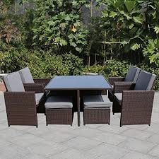 magic union 9 piece outdoor rattan dining set all weather wicker