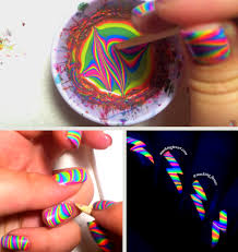 she poured nail polish into water the end result i need to try