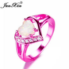 pink gold engagement rings women s heart ring white opal ring pink gold filled