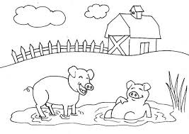 Pig Mud Bath Farm Coloring Page Coloring Sky Farm Color Page