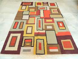 abstract modern rug 4x6 kilim hand knotted orange woven discovered