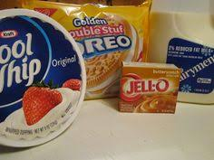 dirt cake w chopped oreos and cheese vanilla chocolate