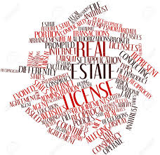 abstract word cloud for real estate license with related tags