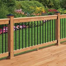 western red cedar 6 ft railing kit with black aluminum balusters