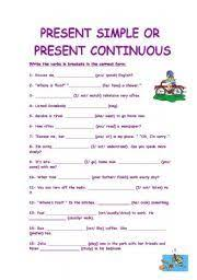 present simple present continuous stative verbs worksheets