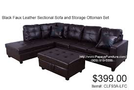 Sofa Ottoman Set Espresso Faux Leather Sectional Sofa And Storage Ottoman Set Cl