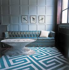 interior cool turkish greek key turquoise rug feat tufted couch