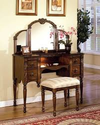 Antique Vanity With Mirror And Bench - furniture antique vanity desk with three mirrors and bench best