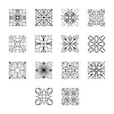 abstract ornaments in square shapes vector free