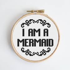 i am a mermaid modern cross stitch kit easy chart design guide