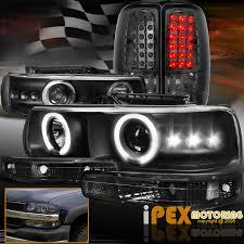 2004 Silverado Tail Lights Chevy Suburban Tahoe Halo Projector Led Black Headlight Signals