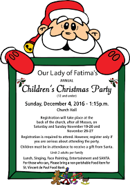 annual children u0027s christmas party our lady of fatima shrine