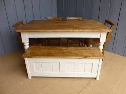 farmhouse plank top table bench and chairs