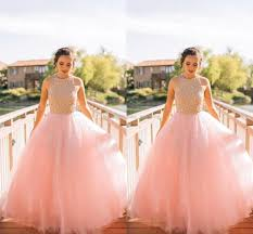 pastel pink ball gown prom dresses beading bodice tulle floor