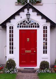 exterior traditional red front door cute hanging light perfect