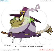 cartoon of an outlined halloween fat witch on a broomstick