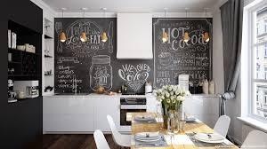 chalkboard backsplash kitchen scandinavian kitchen features white cabinet with wooden