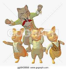 stock illustration big bad wolf pigs clipart