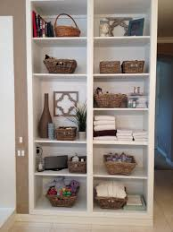 charming storage shelves with rattan baskets for organize your