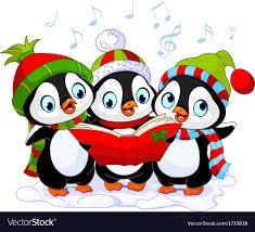 christmas carolers christmas carolers penguins royalty free vector image
