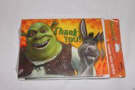 shrek 2 thank you notes 8 birthday party supplies dreamworks