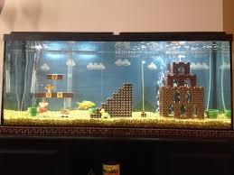 Super Mario Home Decor Super Mario Bros Iconic World 1 1 Inside A 55 Gallon Fish Tank