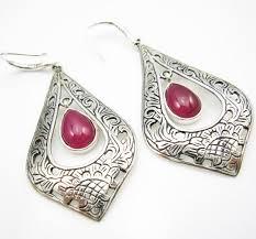 thailand earrings sterling silver corundum thai tribal earrings thai 925 silver