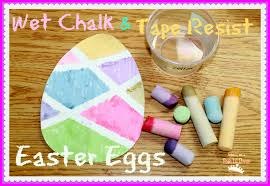 mom to 2 posh lil divas wet chalk tape resist easter egg painting