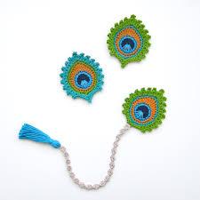 Crochet Halloween Garland Crochet Pattern Peacock Feather Bookmark And Motif