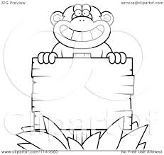 cartoon clipart of a black and white chimpanzee behind a wooden