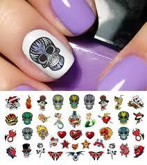 rockabilly tattoo skull nail art decals assortment 2 5 1 2