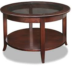 Glass Topped Coffee Tables Leick Solid Wood Round Glass Top Coffee Table Chocolate Oak