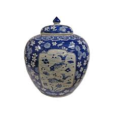 blue u0026 white medallion plum fish ginger jar