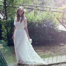 flutter style dress women 2016 country style flutter sleeve romantic french lace wedding