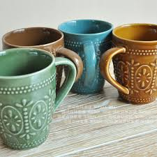 Office Coffee Mugs Free Shipping New 2015 Ikea Zakka Classical Relief Glaze Ceramic