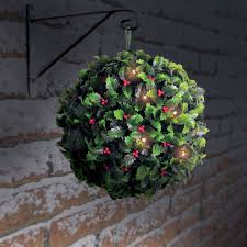 Hanging Topiary Solalite Solar Powered Holly Berry Topiary Ball With 20 Led Lights