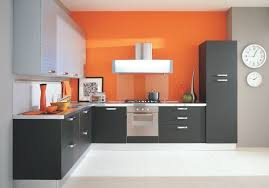 back painted glass kitchen backsplash kitchen cabinet modern grey kitchen cabinet with orange back