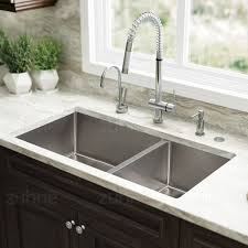 double sinks kitchen zuhne 32 inch undermount 60 40 deep double bowl 16 gauge stainless