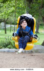 handicap swing pushing disabled on handicap swing stock photo