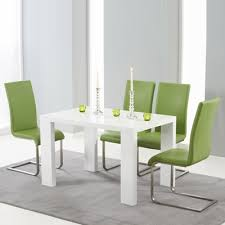 white high gloss table metro high gloss white 120cm dining table with 4 milan green chairs