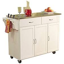 kitchen islands with stainless steel tops amazon com kitchen cart with stainless steel top base finish