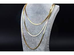 girl gold chain necklace images 3 row snake chain lady wome girl gold plated necklace thick chains JPG