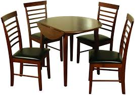 round drop leaf table and 4 chairs buy offwell dark dining set round drop leaf with 4 chairs online