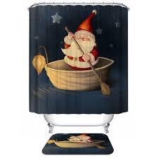 Discount Christmas Shower Curtains Wholesale Santa Claus Waterproof Christmas Shower Curtain Barhroom