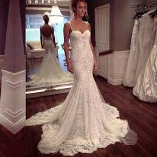 wedding dresses spaghetti straps lace sweep mermaid wedding dress
